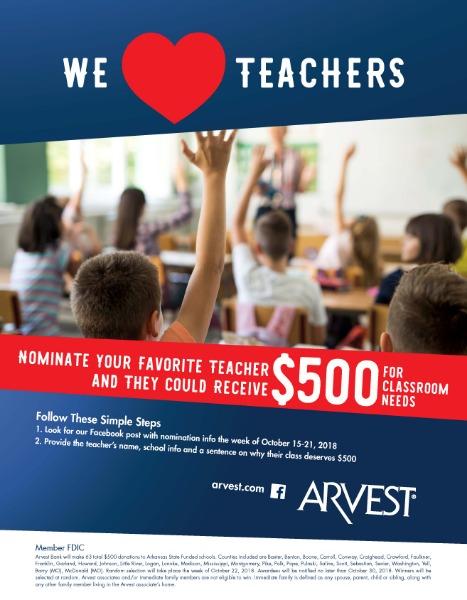 Cassville R-IV School District - Arvest Bank: We heart teachers